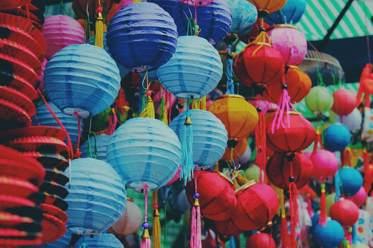 Full frame shot of colorful lanterns