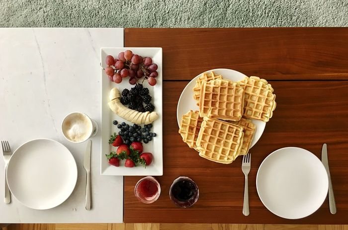 Brunch love Sweet Food Food And Drink Table Waffle Directly Above Indulgence Dessert Food Ready-to-eat Serving Size Freshness Fruit Temptation Breakfast Brunch Around The World Brunch Waffle High Angle View Be. Ready. Food Stories Modern Hospitality