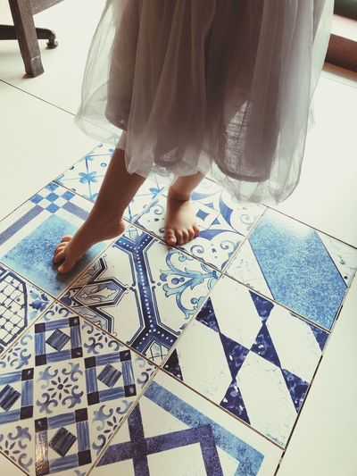 Make her point Ballet Pose Pointing Toe Indoors  Tiled Floor One Person Low Section High Angle View Real People Childhood