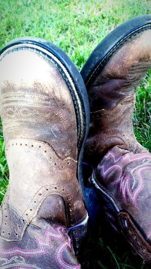 B00ts Grass Low Section High Angle View Person Personal Perspective Shoe Field Relaxation Lawn Human Foot Outdoors Day Tranquility Summer Grassy Dirty Green Color Wooking Boots Cowgirl Two Is Better Than One Photograph Country