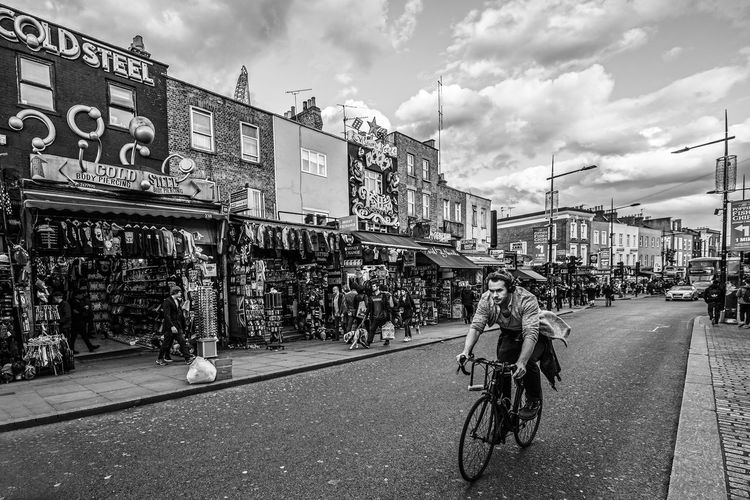 """""""Enjoy Your Ride"""" Architecture Bicycle Building Exterior Built Structure City Cloud - Sky Cycling Day London Men Mode Of Transport Outdoors People Real People Road Sky Street Transportation The Portraitist - 2017 EyeEm Awards The Street Photographer - 2017 EyeEm Awards EyeEm Selects Fresh on Market 2017 The Art Of Street Photography My Best Photo British Culture"""