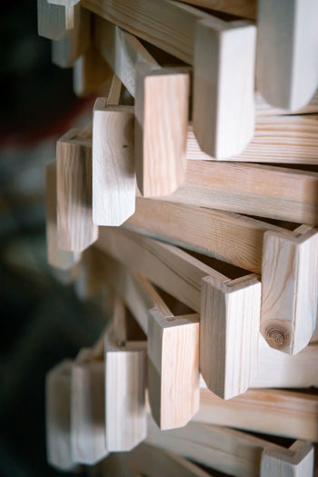 Wood working industry stack of wooden projects close up front view. wood based materials.