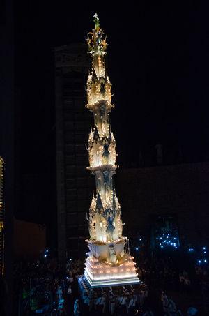 Italia Tradition Viterbo Built Structure Illuminated Italy Light In The Darkness Macchina Santa Rosa Night Palio Santarosa
