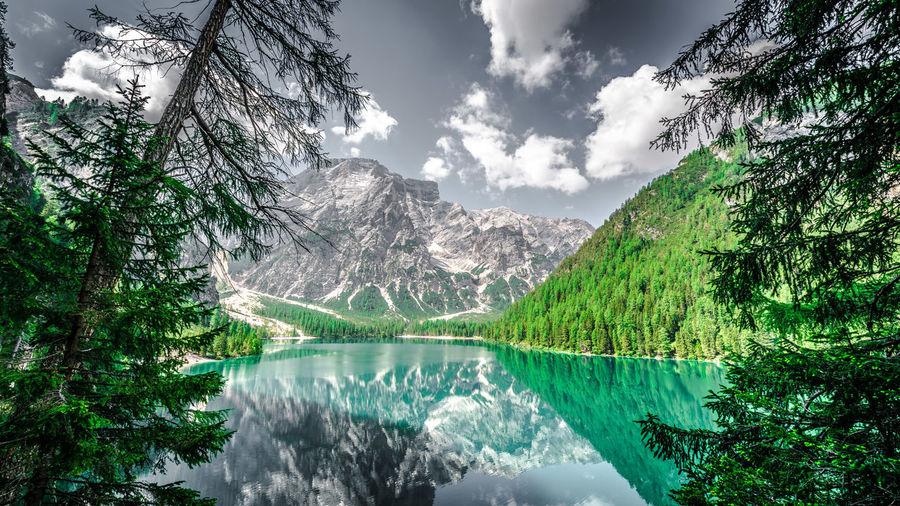 Scenic view of lake pragser wildsee by trees against sky