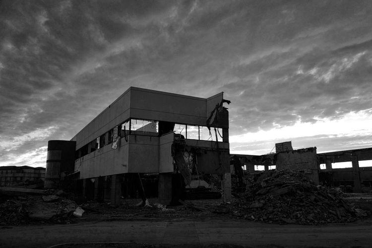 Demolition Zone Demolition Demolished Monochrome Blackandwhite Black And White Clouds