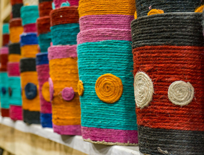 Close-up of colorful wool for sale in store