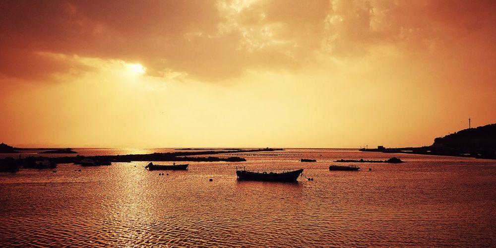 小島日落 Sunset of island Boat Fishing Village Water Flamingo Sea Sunset Beach Low Tide Sun Salt - Mineral Sky Romantic Sky