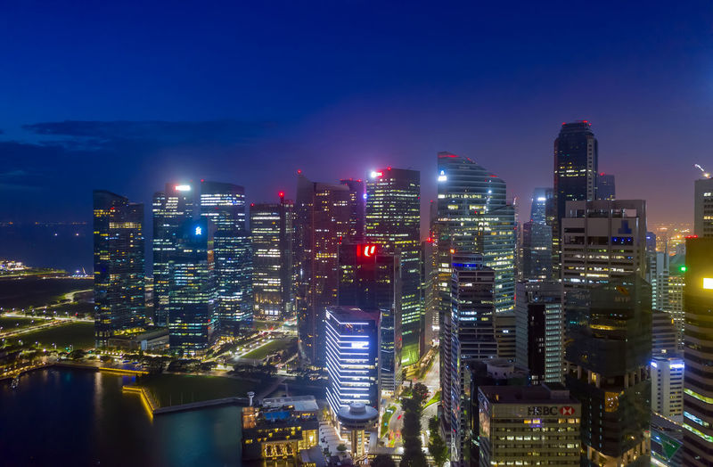 aerial view singapore business district and city, marina bay on february 3, 2020 in singapore.