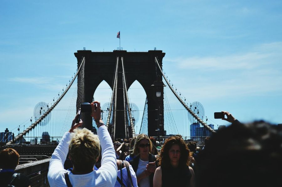 Being a tourist Large Group Of People People Crowd Arts Culture And Entertainment Adult Outdoors Day Brooklyn Bridge  New York City Tourist Tourism Taking Photos Bridge An Eye For Travel