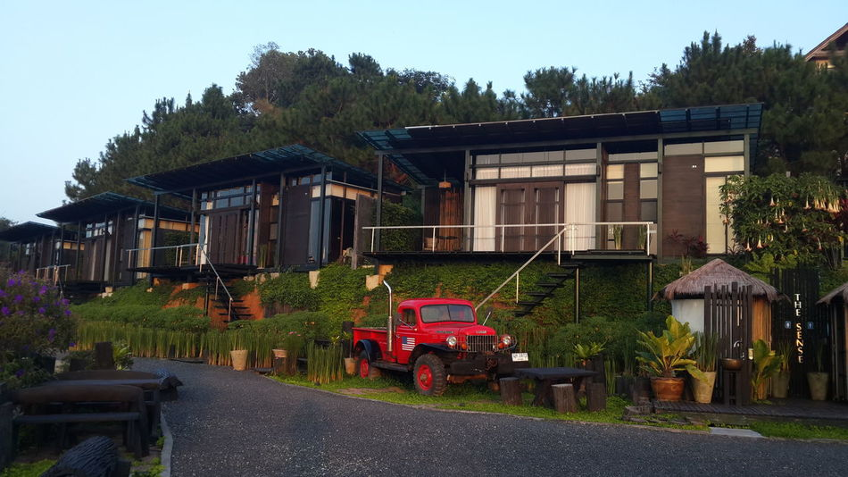 Architecture Building Exterior Mountain Red Truck Relaxing