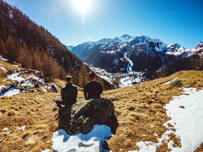 Outdoors Friends Gopro Rest Looking Afternoon Enjoying The Sun View Spring Alpine Aosta Landscape Gressoney Valley Alps Italy Hiking Travelers Snow Mountain Cold Temperature Winter Nature Real People Beauty In Nature Mountain Range Snowcapped Mountain Leisure Activity Two People