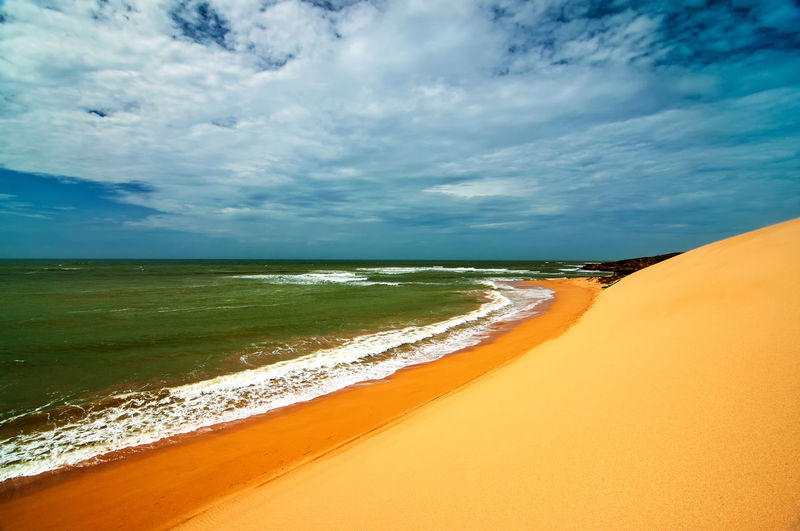 A view of the Colombian coastline in La Guajira Beach Coast Day Desert Dry Dune Dunes Heat Hill Landscape Natural Nature Outdoors Sand Sandy Sea Seascape Sky Sunny Texture Tourism Travel Vacation Water Wilderness