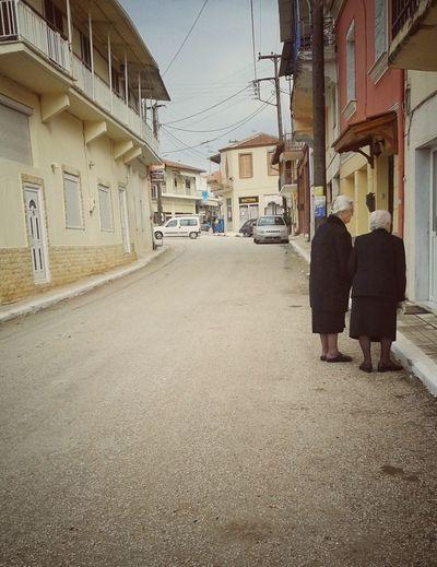 I felt a Funeral, in my Brain ___ Folk Village Mourning Vintage Oldladies Emptiness Village Life Remembering EmilyDICKINSON Greece Pastel Colors Emptystreets Black