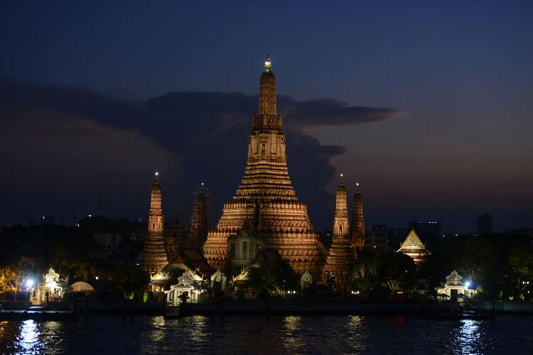 Temple illuminated at night