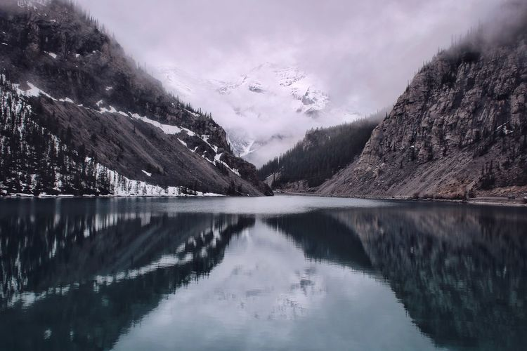 Scenic view of mountains reflected in lake water