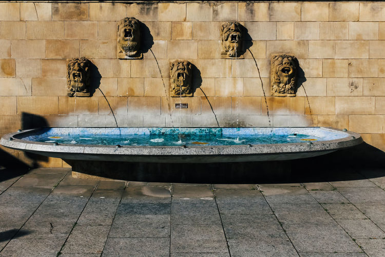 Water Architecture Representation Built Structure Fountain Day Human Representation No People Nature Outdoors Art And Craft Sculpture Male Likeness Swimming Pool Statue Wall - Building Feature Pool Building Exterior Building Luxembourg Lion Sculpture