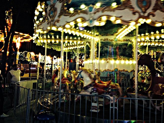 Night View Carousel Stopping Time