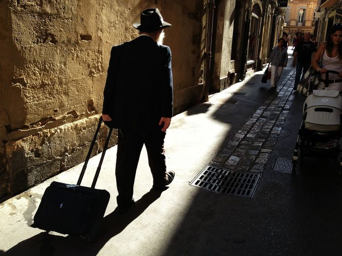 Rear view of man with luggage walking in pathway