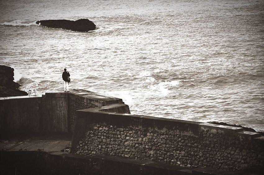 Nature_collection Contemplation Manvsnature  Ocean Blackandwhite Silhouette France Biarritz Monochrome