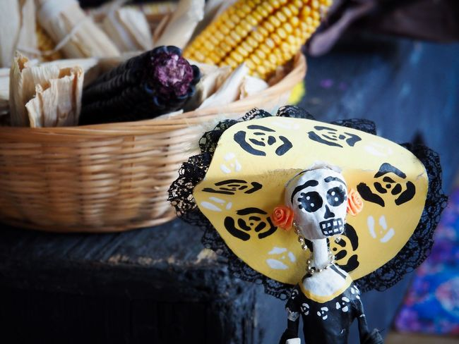 Mexican Traditions Mexican Culture Folklore Mexicano Ofrenda Al Dia De Muertos Dia De Los Muertos Day Of The Dead Mexican Traditions In Memory Of Celebration Event Remembering The Dead Colourful Calacas Close-up No People Focus On Foreground Still Life Food Indoors  Basket Table Representation Pattern Corn