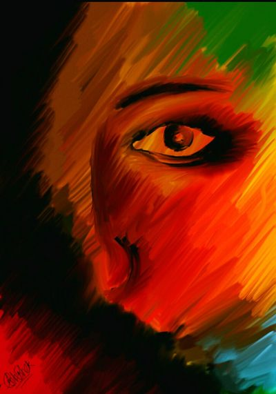 Painting Colorful Abstract Face Sketch
