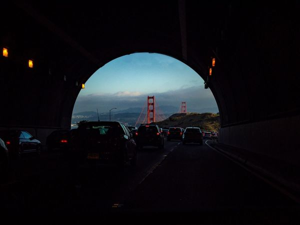 Rush hour, Marin County EyeEmNewHere Late Gridlock Brake Lights Hill California San Francisco Golden Gate Bridge San Francisco Bay Marin Headlands Marin County Daily Grind  Commute Rush Hour Tunnel Car Transportation Land Vehicle Mode Of Transport Road No People Built Structure Architecture Sky Day