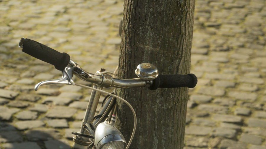 Vintage Bike Antique Bell Bicycle Bicycle Basket Close-up Cycling Day Fahrrad Focus On Foreground Handlebar Hipster Human Hand Lifestyles Lonely Outdoors People Stationary Tree Vintage Stories From The City