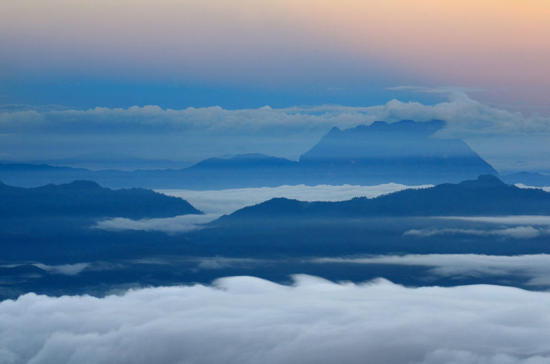 Aerial View Atmosphere Atmospheric Mood Beauty In Nature Calm Cloud Cloud - Sky Cloudscape Day Fluffy Fog High Up Idyllic Majestic Mountain Mountain Peak Mountain Range Nature Non-urban Scene Remote Scenics Sky Softness Tranquil Scene Tranquility