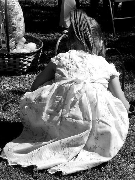 Easter Ready Egg Hunt Egg Basket Little Girl Child Photography Child Innocence Easter Dress Black And White Photography Black And White Black & White