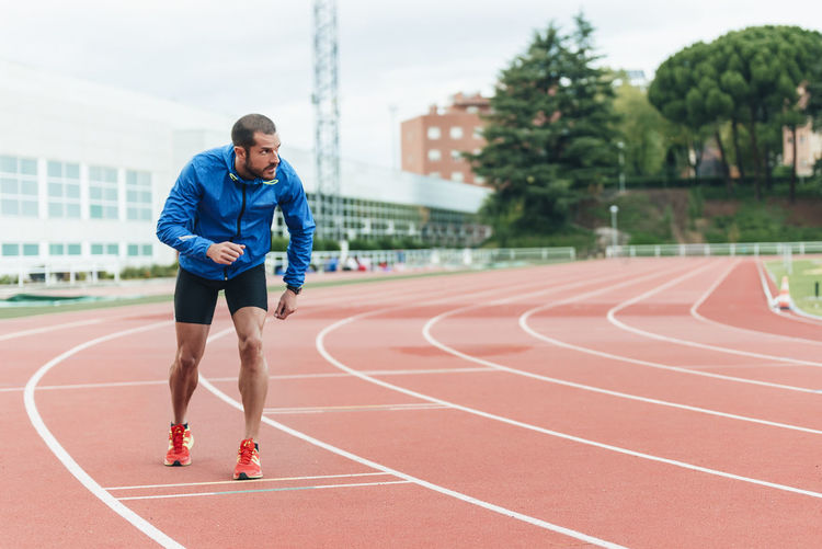 Full length of man running