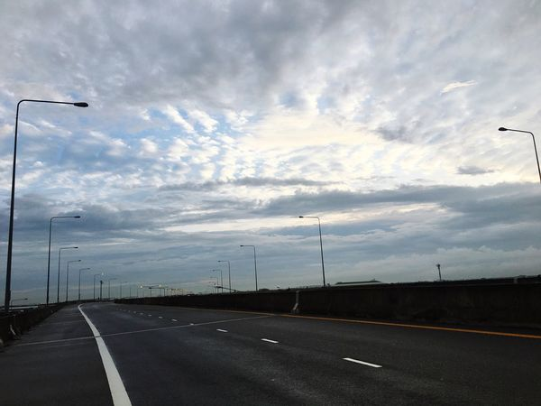 Road Transportation Road Marking The Way Forward Cloud - Sky Sky Street Light Highway Day Outdoors No People Nature