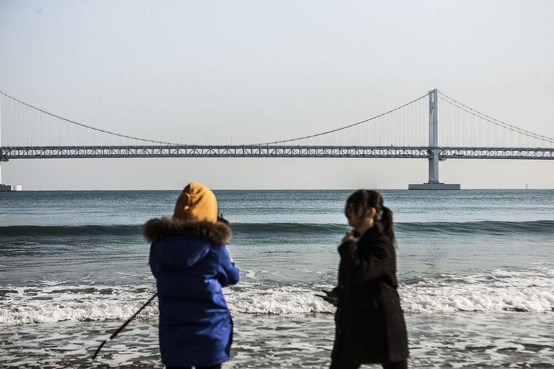Pusan Gwanganli Gwangandaegyo South Korea Korea Coast Beach Sea