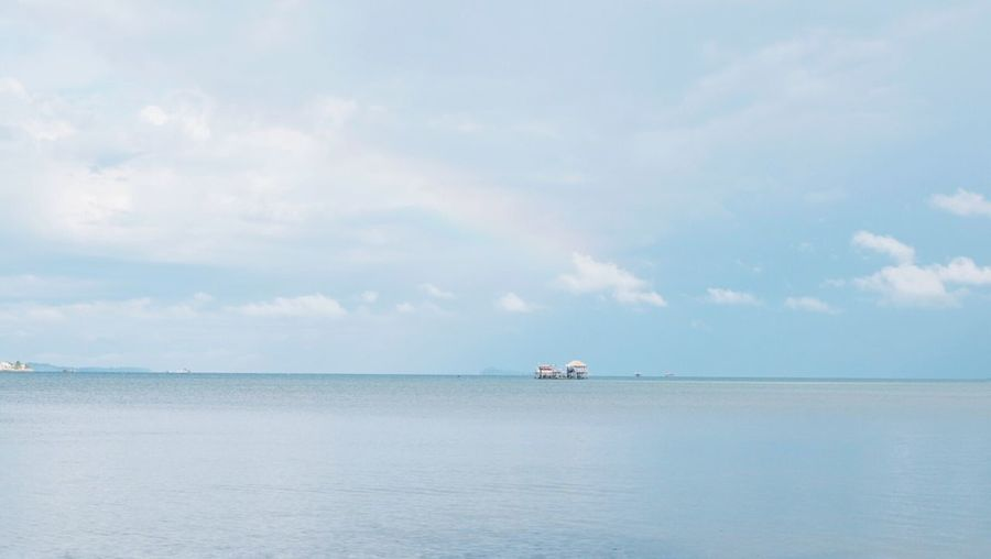 Sea Water Horizon Over Water Beauty In Nature Landscape Outdoors Cloud - Sky Nature Beach Day Sky Blue Rainbow