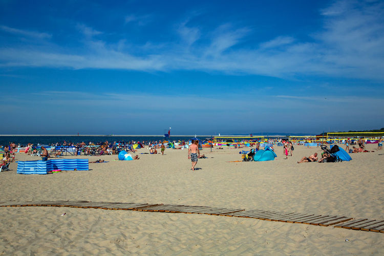 Baltic Sea Beach Cloud - Sky Crowd Group Of People Holiday Horizon Horizon Over Water Land Large Group Of People Leisure Activity Nature Outdoors Real People Sand Sea Sky Trip Vacations Water Women
