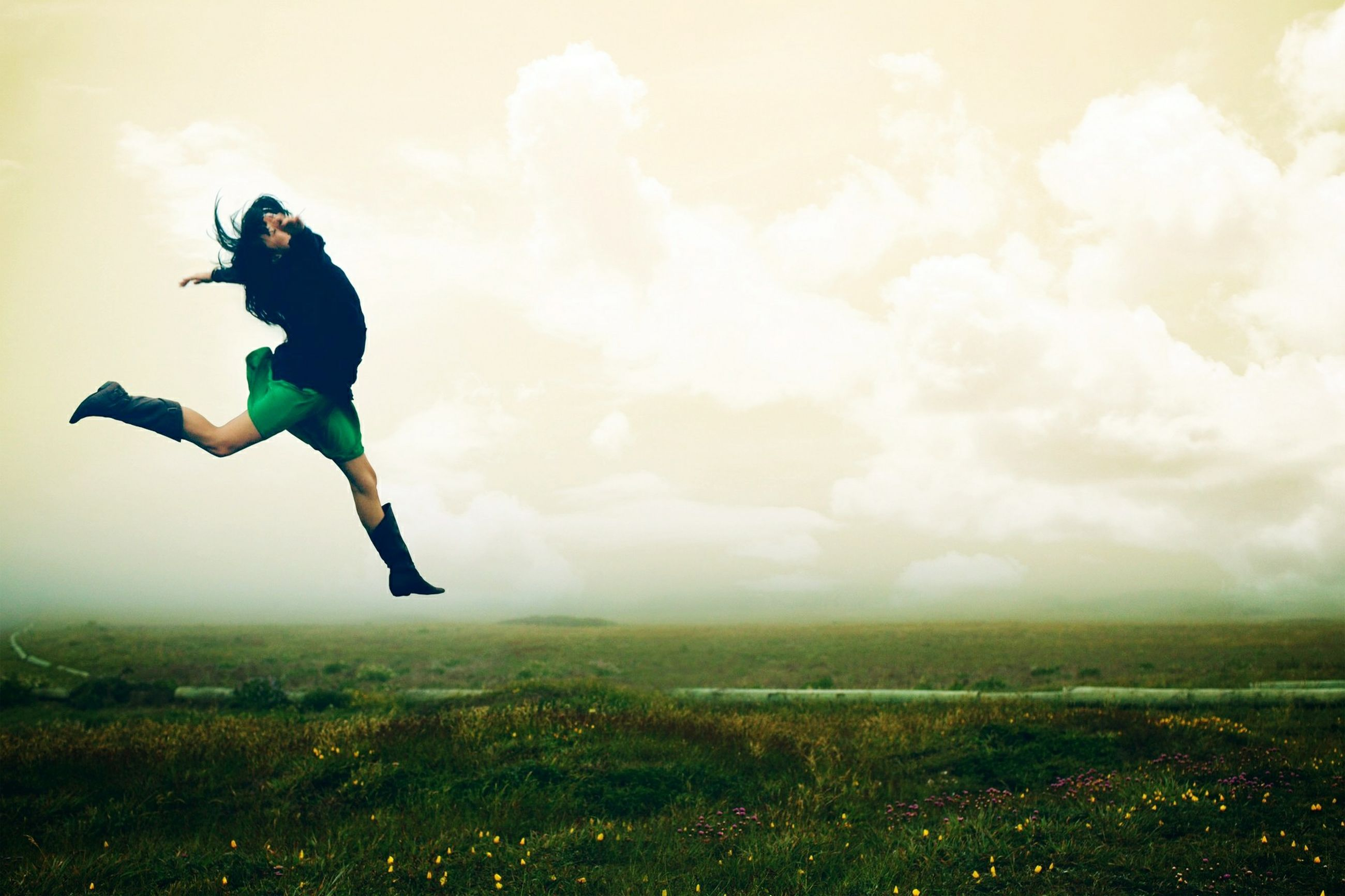 full length, sky, mid-air, field, grass, leisure activity, lifestyles, cloud - sky, cloudy, jumping, grassy, landscape, nature, childhood, running, green color, day, freedom