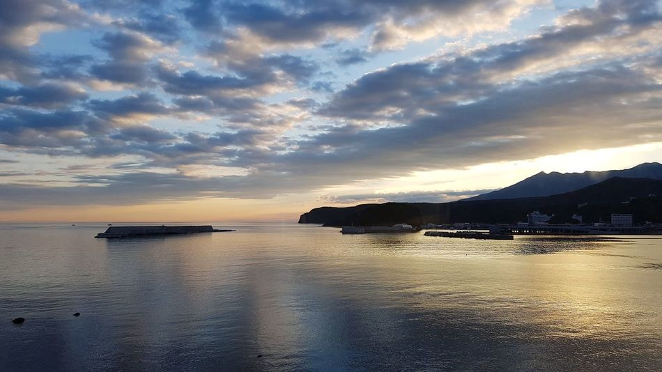 Sunrise in Utoro, Hokkaido, Japan. Beach Sea Dramatic Sky Water Scenics Cloud - Sky Landscape Tranquil Scene Nature Reflection Beauty In Nature Horizon Over Water Sky Tranquility Outdoors Summer Sun Sunlight Sunrise Utoro Hokkaido,Japan Travel