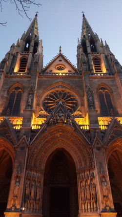 Basilique Sainte-Clotilde, Paris Basilica Church EyeEmNewHere France Paris ParisByNight Sainte-Clotilde Arch Architecture Building Exterior Built Structure Clear Sky Cross Day Façade Low Angle View No People Outdoors Place Of Worship Religion Rose Window Sky Spirituality