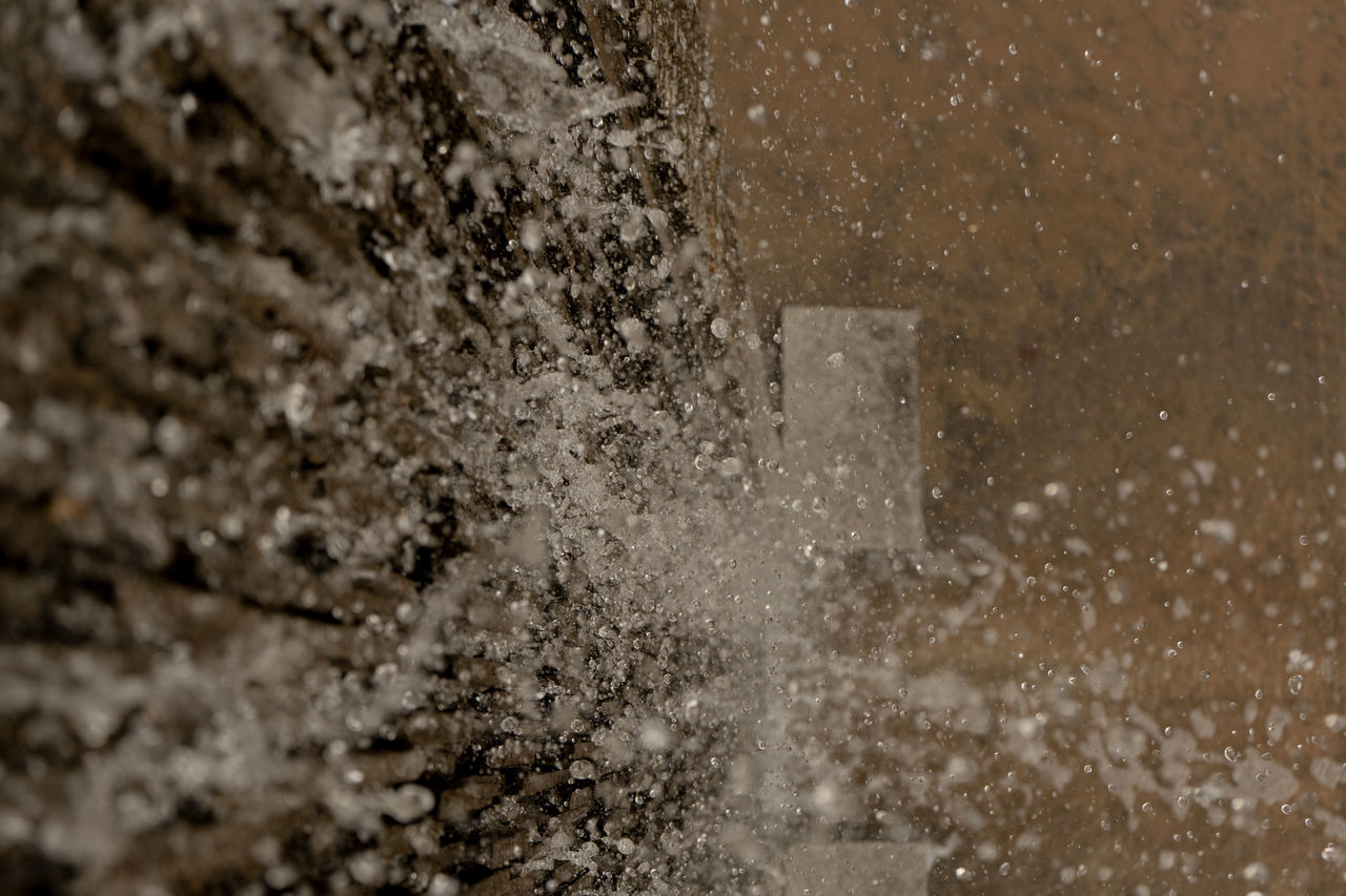 no people, selective focus, close-up, indoors, day, architecture, nature, full frame, built structure, motion, water, wall - building feature, textured, backgrounds, splashing, cold temperature, food and drink, geology