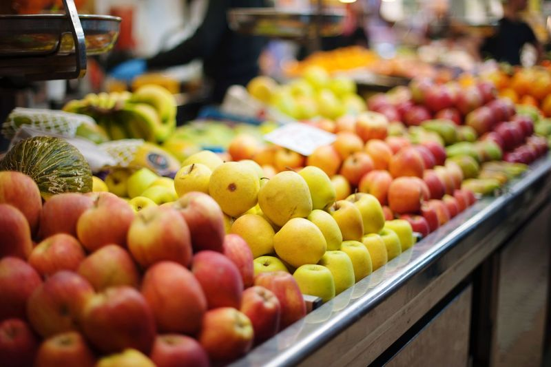food products in the Spanish market Food Food And Drink Retail  Choice Freshness Variation Healthy Eating Large Group Of Objects Arrangement Market Stall Multi Colored Wellbeing For Sale Selective Focus Fruit Market Abundance No People Apple - Fruit Still Life