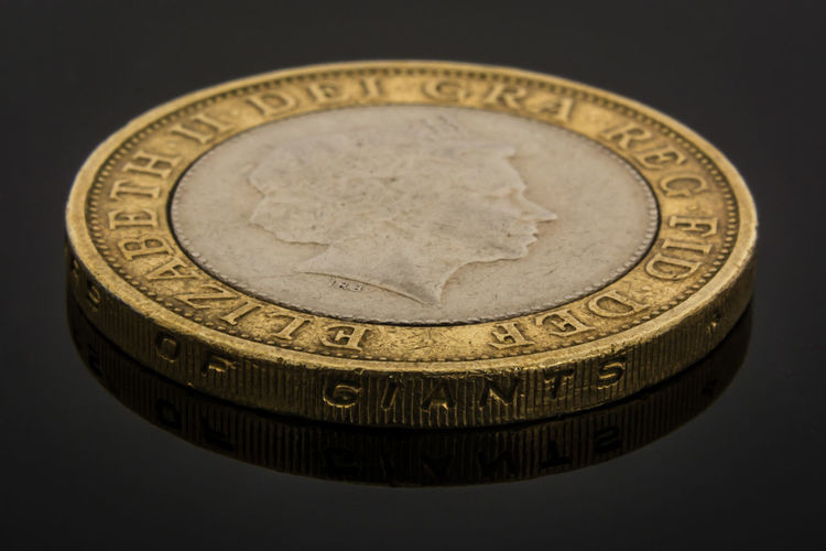 Black Background Close-up Coin Currency Engrave Etching Finance Gold Gold Colored Money Portrait Pound Queen Elizabeth  Savings Scratch Scuff Silver  Text Words £2