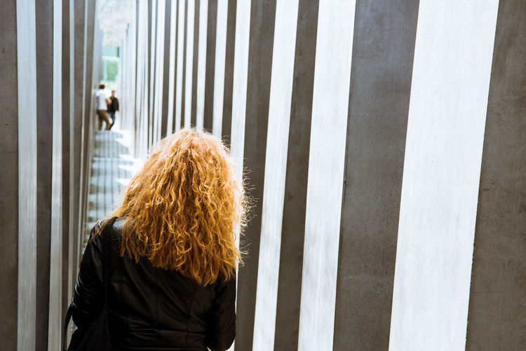 @Memorial to the Murdered Jews of Europe Berlin Concrete Day Geometry Jewish Memorial To The Murdered Jews Of Europe One Person Outdoors People Real People Red Hair Standing Woman Young Adult Young Women