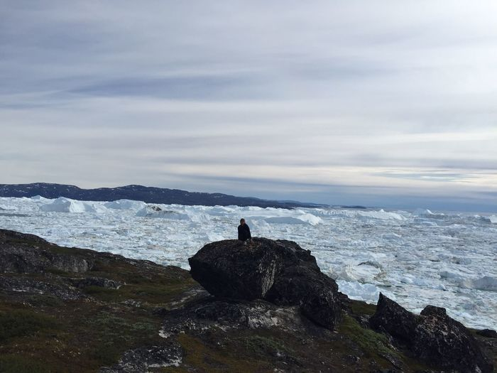 Greenland Sea Nature Water Beauty In Nature One Person Iceberg Arctic Summer Greenland Rock - Object