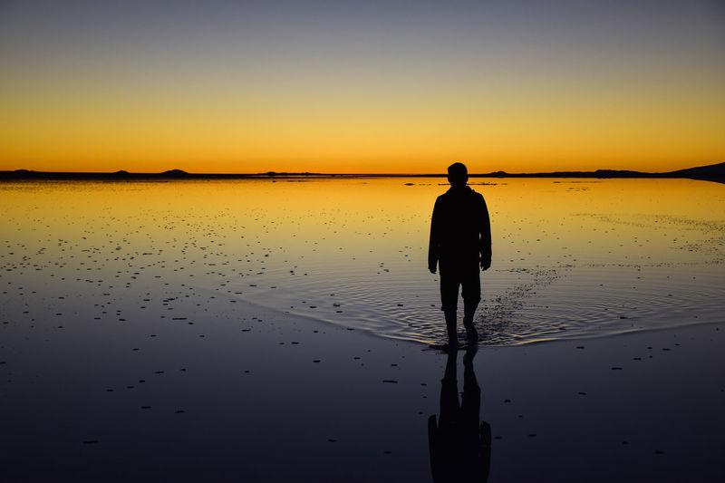 Strides Reflection Water Clear Sky Sunset Desert Lake Silhouette Salt Flat EyeEmNewHere The Great Outdoors - 2018 EyeEm Awards The Traveler - 2018 EyeEm Awards