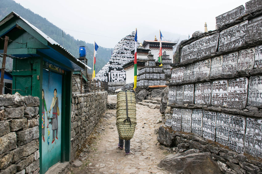 Transport in the Mountains Baskets Connected By Travel Himalayas Nepal Sherpa Everest Base Camp Trek Mountain Range Outdoors Strong Village