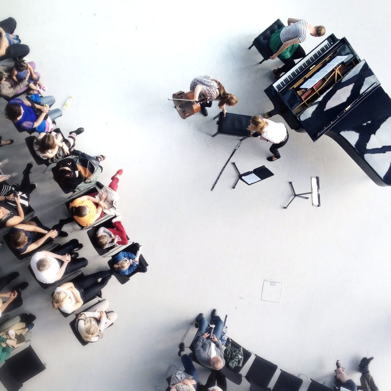 Directly above shot of audience watching musical concert