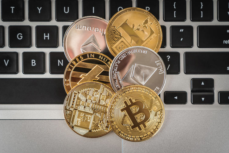 Cryptocurrency Coins CryptoCoin Currency High Quality Above Angle Bird View Preserve Bitcoin Crypto Crypto Currency Cryptocurrency Decentralized Digital Currency Digital Currency Digital Payment Finance Indoor