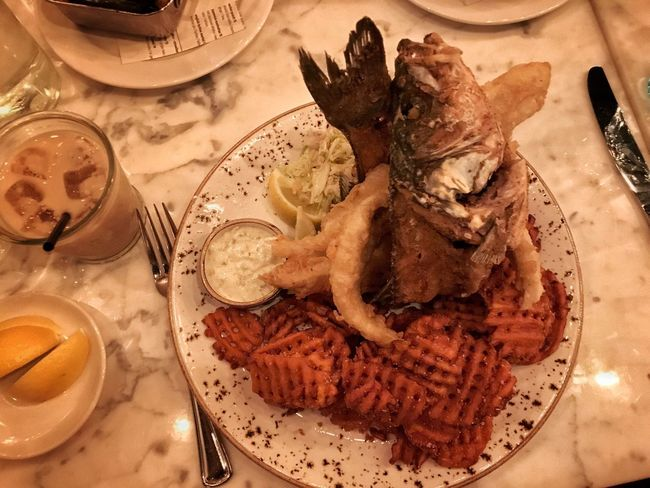 This is how they serve their fish and chips at Searsucker Restaurant at Caesars Palace in Las Vegas Food Plate Food And Drink Ready-to-eat Serving Size Table Meal Indulgence Fork Fish Whole Fish Las Vegas NV