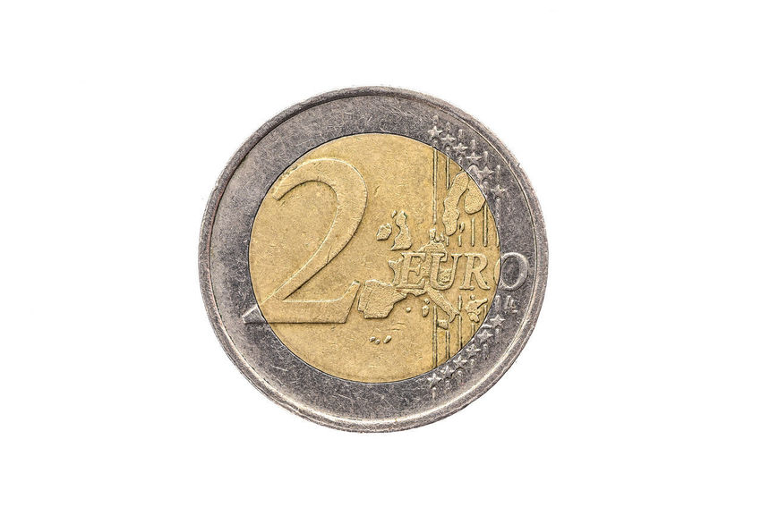 Old used and worn out 2 euro coin. Coin of European currency for 2 euro isolated on white. High resolution picture. Currency Economy Cash Cent Cent Coins Coins Currency Euro Euro Coin Euro Coins Europe European Currency European Money Finance Gold Colored Metallic Monetary Money Old Studio Shot Symbol Used Wealth White Background €