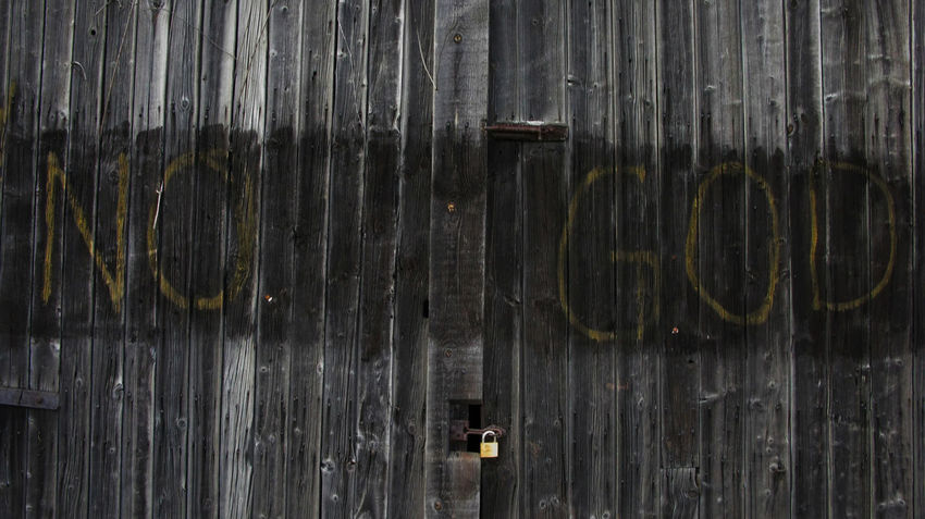 No God Abandoned Backgrounds Close-up Damaged Deterioration Full Frame Graphic Look Typography Letters Lettering Graphic Style Horizontal Symmetry Metal No God.............there Is No `god Painted Over On Black Wooden Planked Shek.......................................................... No People Old Photography Taking Photos Reportage Documentary Photography Rusty Street Photos Fotos Distressed Wood Planks Black Paint Yellow Gold Leters Taking Photos Fotos Camera Phone From My Point Of View Textured  Urban City Landscape Woman Girl Female Walk Walker Walking Strol Thames Embankment Birdseye View Trees Water London City Documentary Reportage Photography Street Photos Film Digital Images Black And White Monochrome Wall Weathered Wood Wooden Pmg_lon