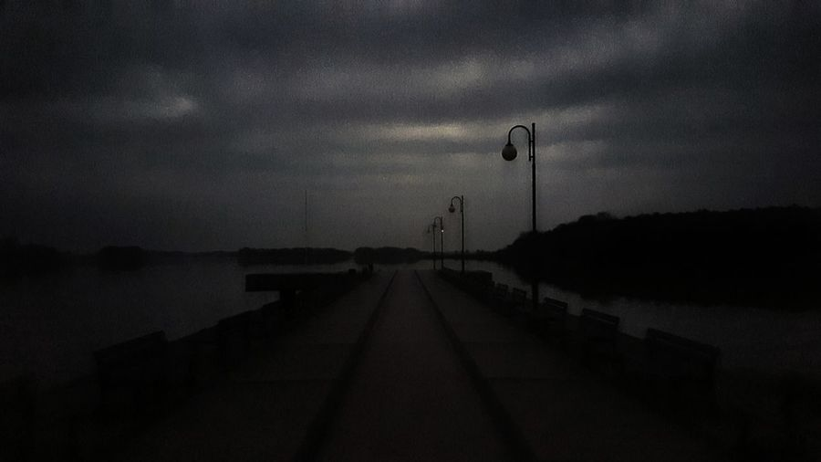Outdoors Evening Evening Sky Skorzecin Lawka Latarnia Lantern Molo Jezioro Dark